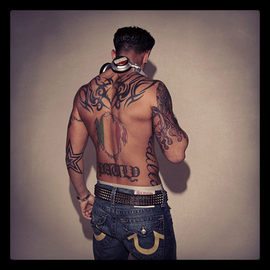 Pauly D | Back Tribal Tattoo | T.V.S.T.