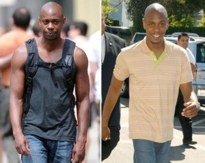 dave chapelle wearing a tank top looking muscular.  Very toned