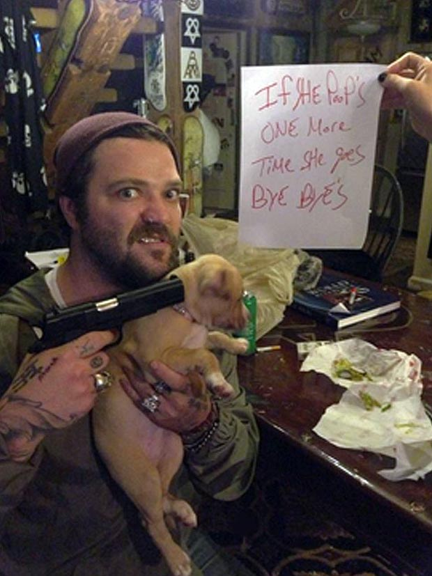 Bam Threatening Pooping Puppy With Gun