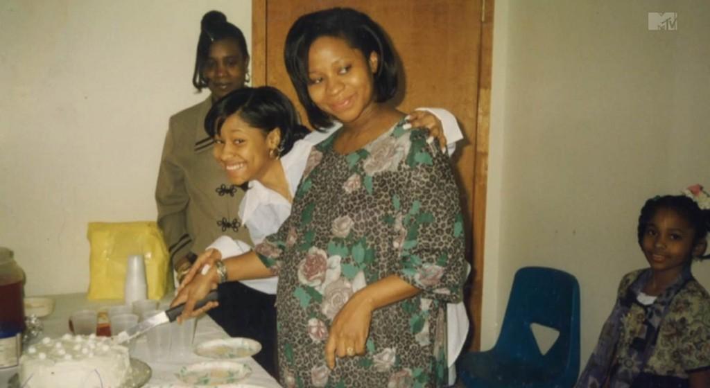 Nicki and her Mom cutting cake