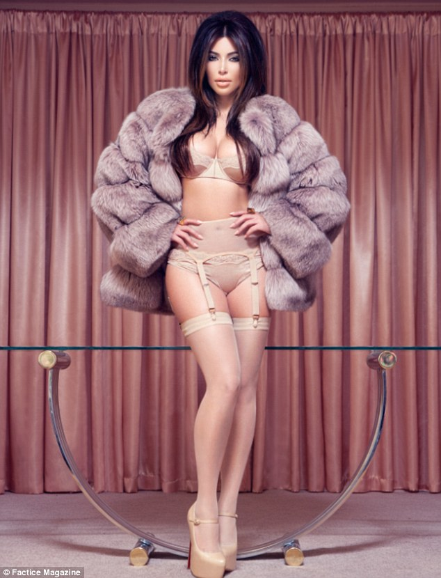 Kim Kardashian in Lingerie  and Fur for Fatice