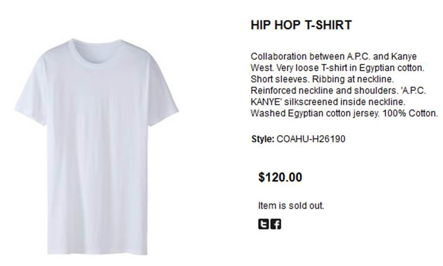 Kanye West $120 Hip Hop T Shirt
