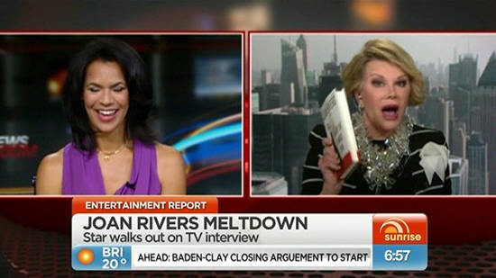 Joan Rivers Storms Out of CNN Interview – She can Dish it, but can't take it.  (video)