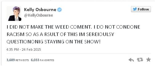 02MAR2015 Kelly Osbourne Tweet