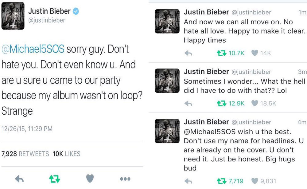 Justin Bieber 5 Seconds of Summer tweet