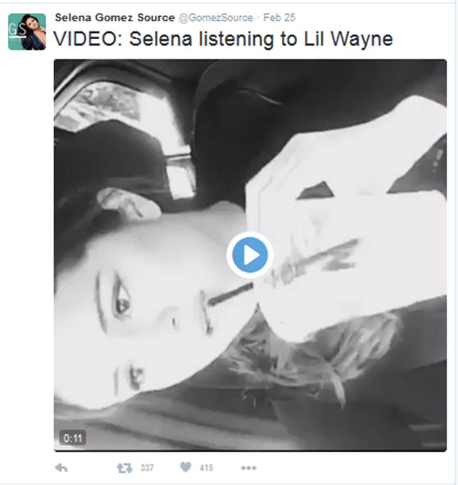 Selena Gomez video - 29feb2016