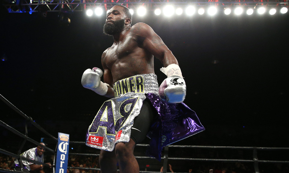 WASHINGTON, DC - APRIL 01: Adrien Broner celebrates after defeating Ashley Theophane (not pictured) by TKO in ninth round in their super lightweight championship bout at the DC Armory on April 1, 2016 in Washington, DC. (Photo by Patrick Smith/Getty Images) ORG XMIT: 606750477 ORIG FILE ID: 518634564
